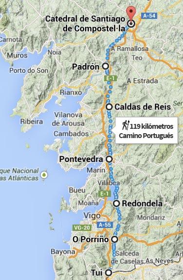 Gua del camino portugus de Tui a Santiago de Compostela en seis